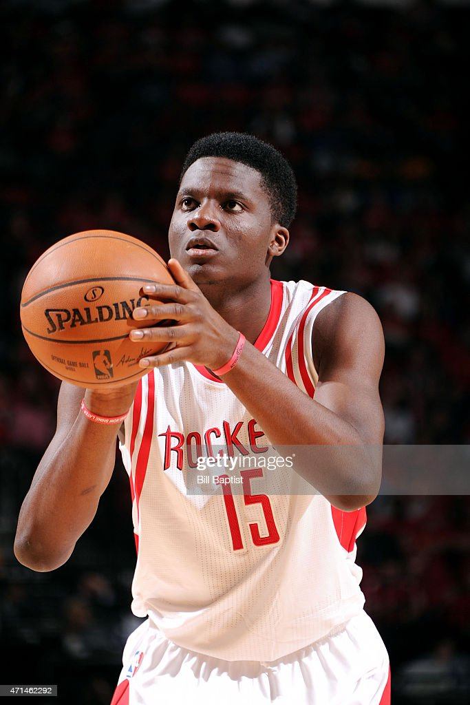 Clint Capela of the Houston Rockets attempts a free throw against the Dallas Mavericks in Game Five of the Western Conference Quarterfinals during...
