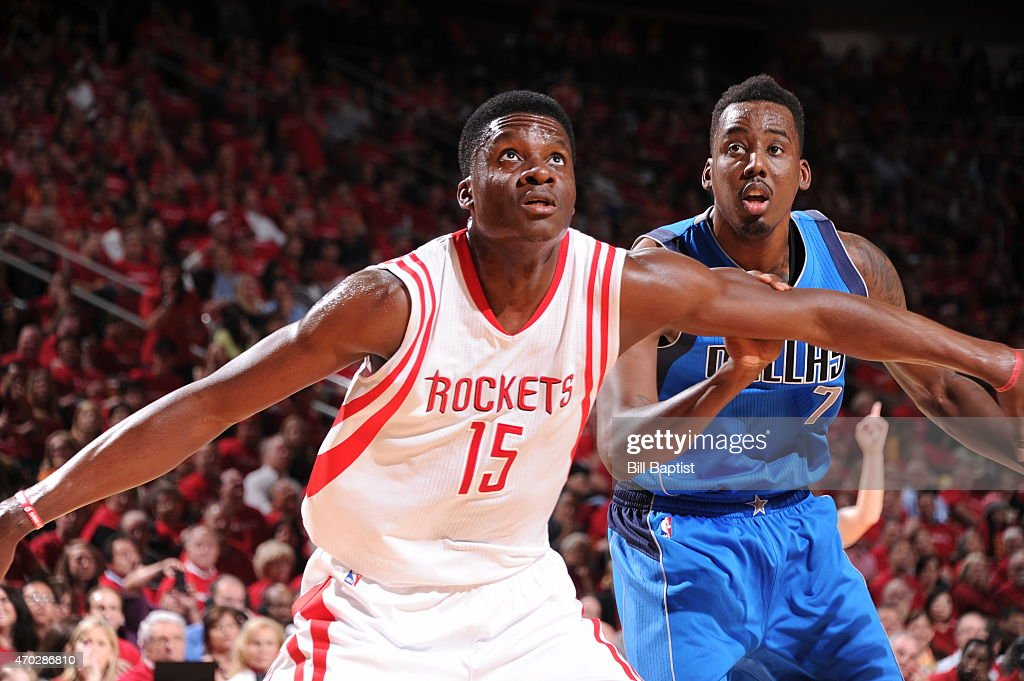 Clint Capela of the Houston Rockets boxes out against AlFarouq Aminu of the Dallas Mavericks in Game One of the Western Conference Quarterfinals...