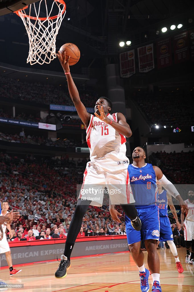 Clint Capela of the Houston Rockets drives to the basket against the Los Angeles Clippers in Game One of the Western Conference Semifinals during the...