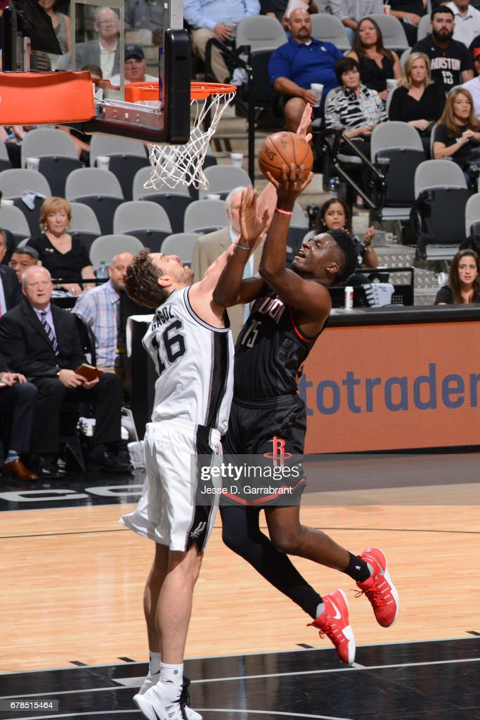 Clint Capela #15 of the Houston Rockets drives to the basket against the San Antonio Spurs during Game Two of the Western Conference Semifinals of the 2017 NBA Playoffs on May 3, 2017 at the AT&T Center in San Antonio, Texas.