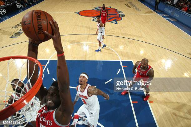 Clint Capela of the Houston Rockets drives to the basket against the New York Knicks during the preseason game on October 9 2017 at Madison Square...