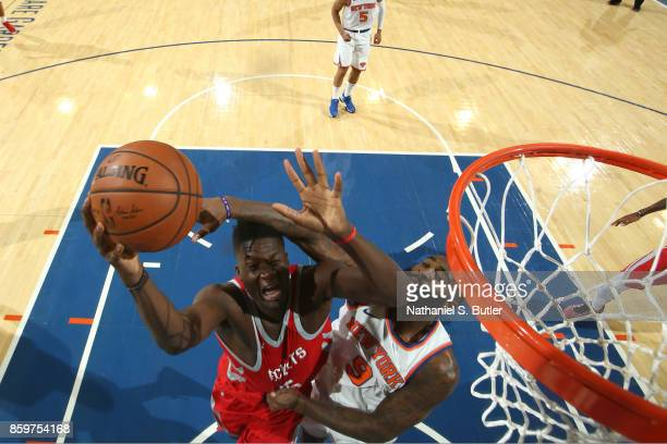 Clint Capela of the Houston Rockets drives to the basket against the New York Knicks drives to the basket against the New York Knicks during the...