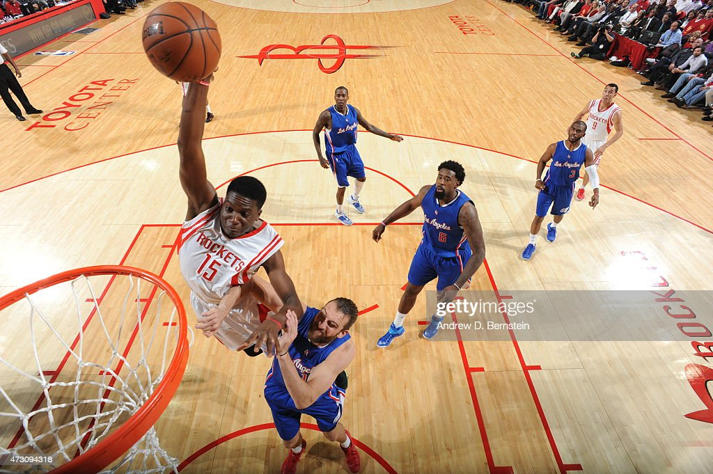 Clint Capela of the Houston Rockets dunks against the Los Angeles Clippers in Game Five of the Western Conference Semifinals during the 2015 NBA...