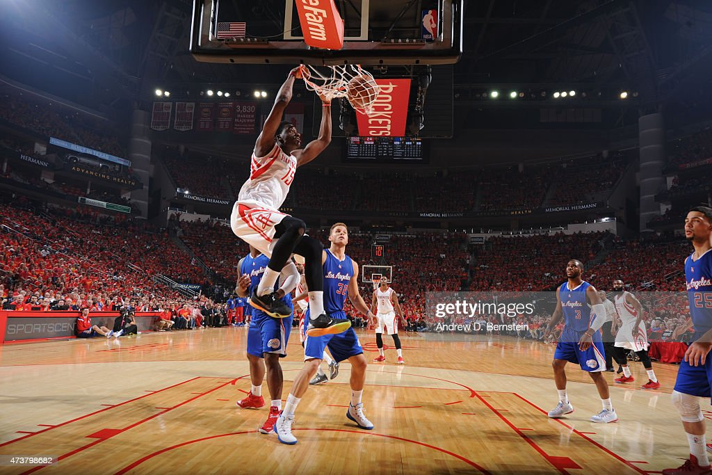 Clint Capela of the Houston Rockets dunks against the Los Angeles Clippers in Game Seven of the Western Conference Semifinals during the 2015 NBA...