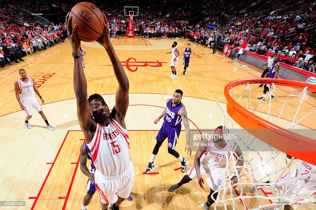 Clint Capela of the Houston Rockets dunks against the Sacramento Kings on April 13 2016 at the Toyota Center in Houston Texas NOTE TO USER User...
