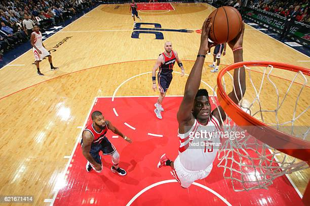 Clint Capela of the Houston Rockets dunks against the Washington Wizards on November 7 2016 at Verizon Center in Washington DC NOTE TO USER User...