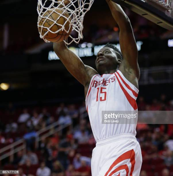 Clint Capela of the Houston Rockets dunks during the first quarter New Orleans Pelicans at Toyota Center on March 24 2017 in Houston Texas NOTE TO...