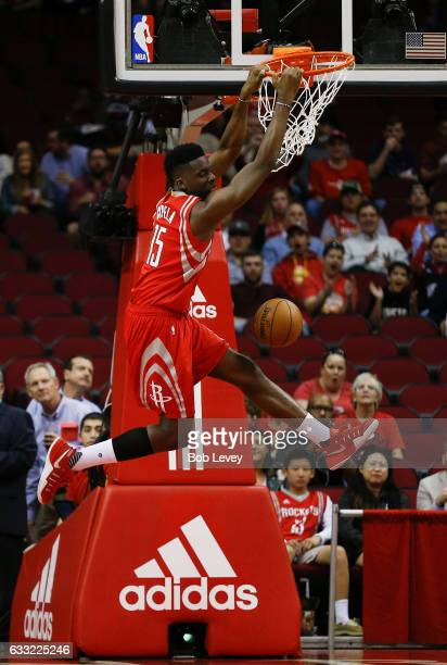 Clint Capela of the Houston Rockets dunks in the first quarter against the Sacramento Kings at Toyota Center on January 31 2017 in Houston Texas NOTE...