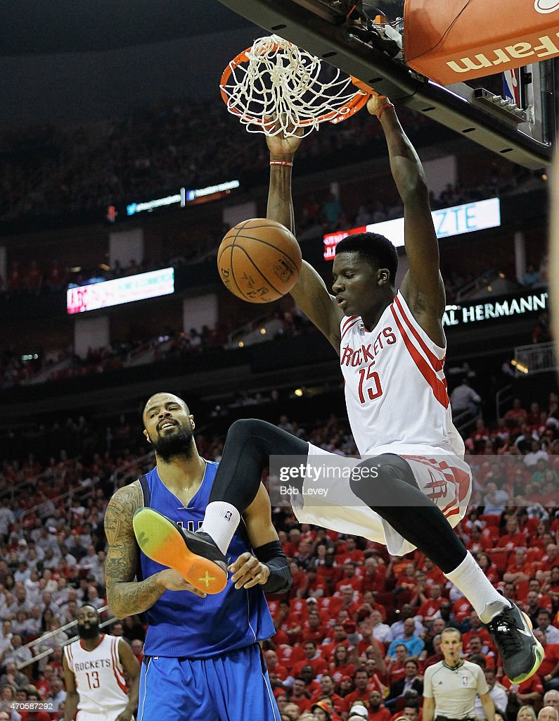 Clint Capela of the Houston Rockets dunks on Tyson Chandler of the Dallas Mavericks during the first half of Game Two of the Western Conference...