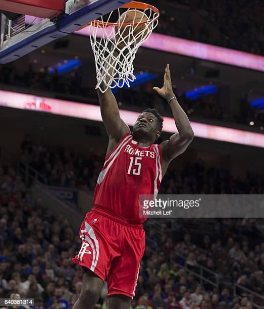 Clint Capela of the Houston Rockets dunks the ball against the Philadelphia 76ers at the Wells Fargo Center on January 27 2017 in Philadelphia...