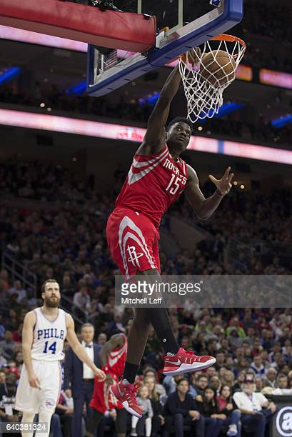 Clint Capela of the Houston Rockets dunks the ball against the Philadelphia 76ers at the Wells Fargo Center on January 27 2017 in Philadelphia...