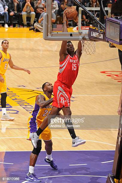 Clint Capela of the Houston Rockets dunks the ball against the Los Angeles Lakers on October 26 2016 at STAPLES Center in Los Angeles California NOTE...