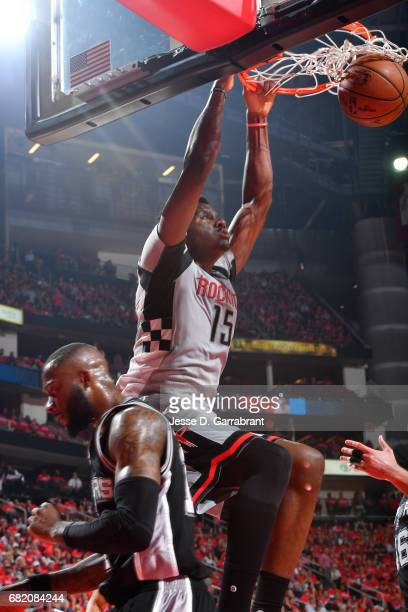 Clint Capela of the Houston Rockets dunks the ball during the game against the San Antonio Spurs during Game Six of the Western Conference Semifinals...
