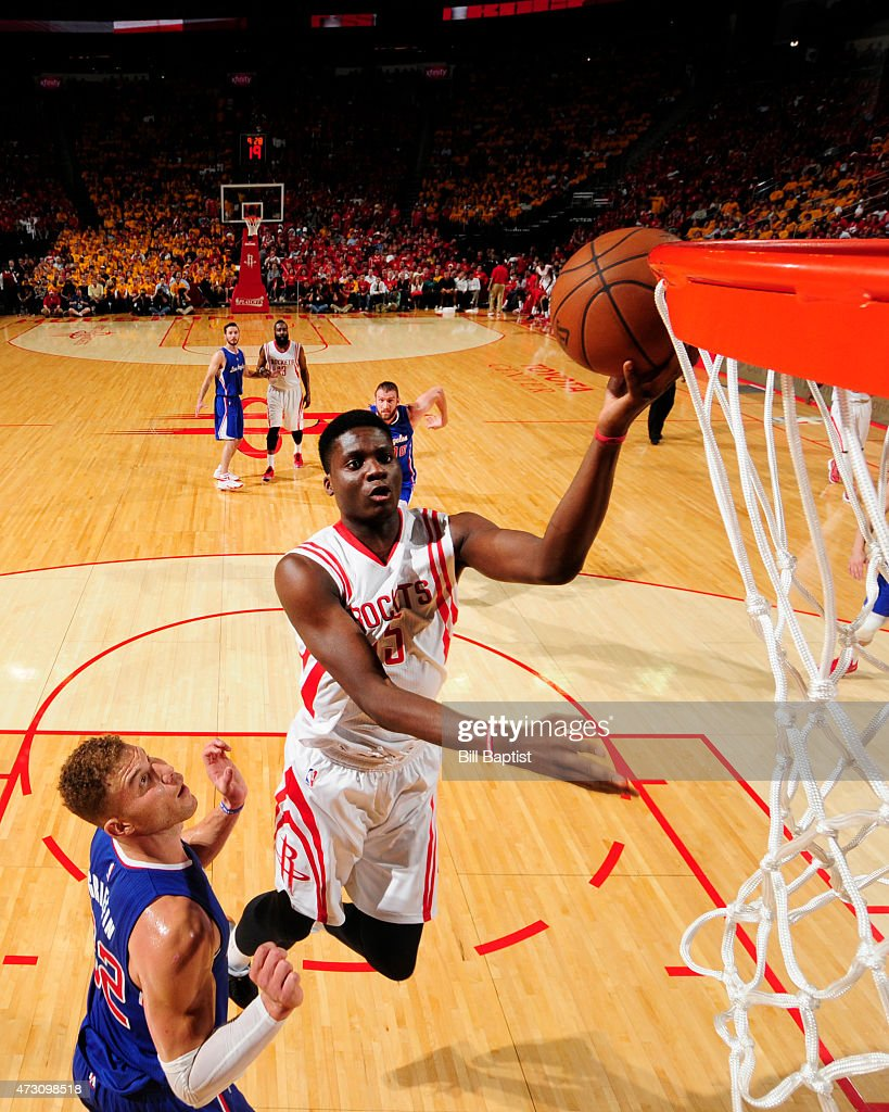 Clint Capela of the Houston Rockets goes for the layup against Blake Griffin of the Los Angeles Clippers during Game Five of the Western Conference...