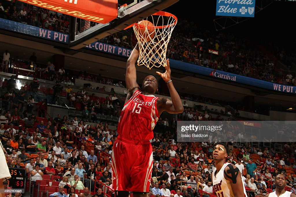 Clint Capela of the Houston Rockets goes for the layup against the Miami Heat during the game on November 1 2015 at American Airlines Arena in Miami...