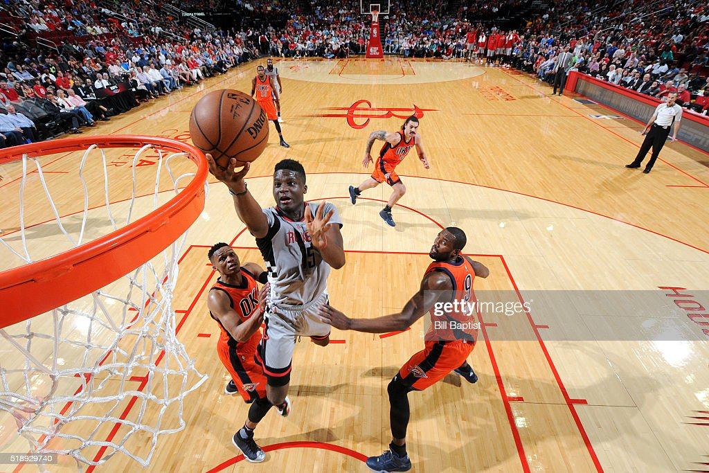Clint Capela of the Houston Rockets goes for the layup during the game against the Oklahoma City Thunder on April 3 2016 at the Toyota Center in...