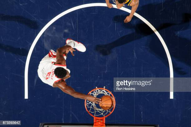 Clint Capela of the Houston Rockets goes to the basket against the Indiana Pacers on November 12 2017 at Bankers Life Fieldhouse in Indianapolis...