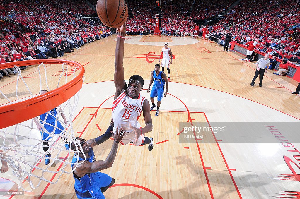 Clint Capela of the Houston Rockets goes up for a dunk against the Dallas Mavericks in Game One of the Western Conference Quarterfinals during the...