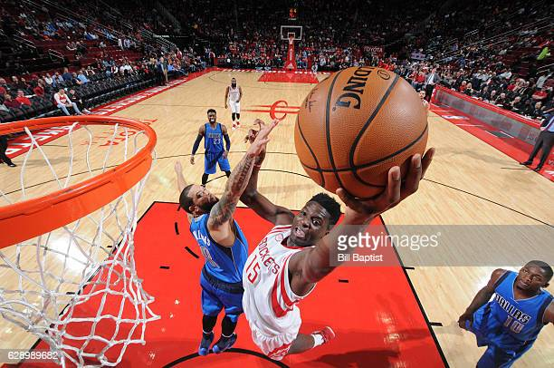 Clint Capela of the Houston Rockets goes up for a lay up during a game against the Dallas Mavericks on December 10 2016 at the Toyota Center in...