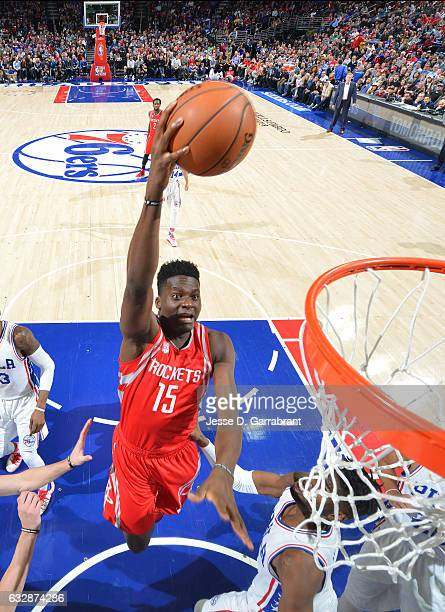Clint Capela of the Houston Rockets goes up for the layup against the Philadelphia 76ers at Wells Fargo Center on January 27 2017 in Philadelphia...