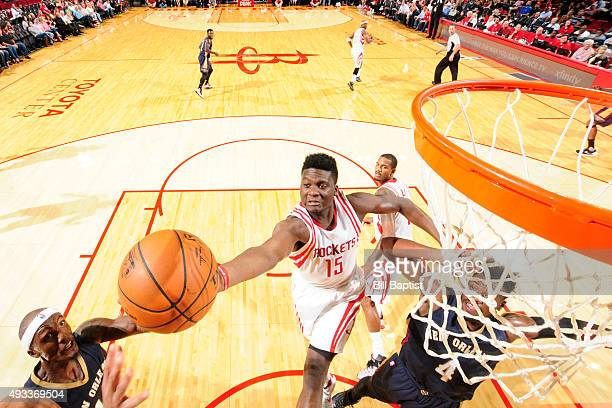 Clint Capela of the Houston Rockets grabs the rebound against the New Orleans Pelicans during a preseason game on October 19 2015 at the Toyota...