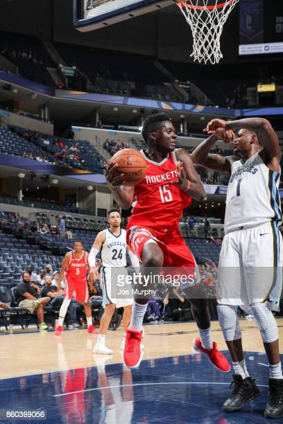 Clint Capela of the Houston Rockets handles the ball during a preseason game against the Memphis Grizzlies on October 11 2017 at FedExForum in...