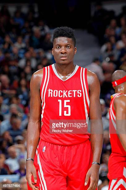 Clint Capela of the Houston Rockets looks on during the game against the Sacramento Kings on November 6 2015 at Sleep Train Arena in Sacramento...