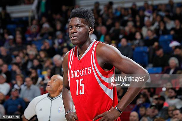 Clint Capela of the Houston Rockets looks on during the game against the Sacramento Kings on December 15 2015 at Sleep Train Arena in Sacramento...