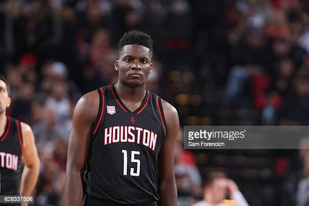 Clint Capela of the Houston Rockets looks on during the game against the Portland Trail Blazers on November 27 2016 at the Moda Center in Portland...