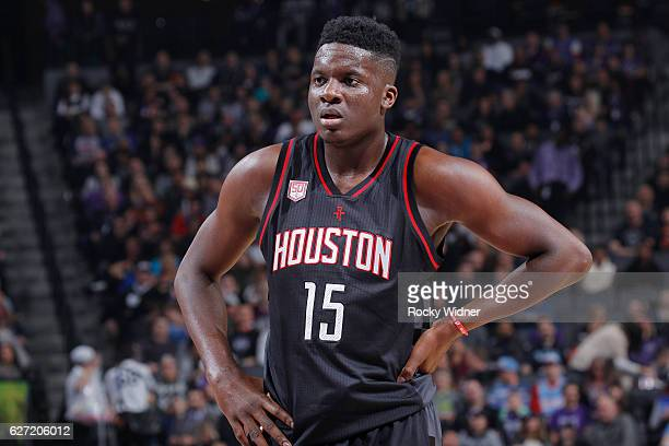 Clint Capela of the Houston Rockets looks on during the game against the Sacramento Kings on November 25 2016 at Golden 1 Center in Sacramento...