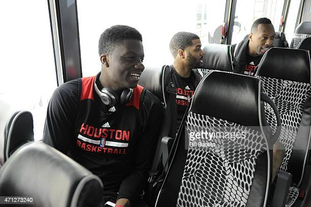 Clint Capela of the Houston Rockets on the bus before the game against the Dallas Mavericks for Game Three of the Western Conference Quarterfinals of...