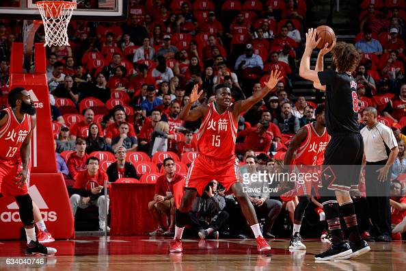 Clint Capela of the Houston Rockets plays defense against the Chicago Bulls on February 3 2017 at the Toyota Center in Houston Texas NOTE TO USER...