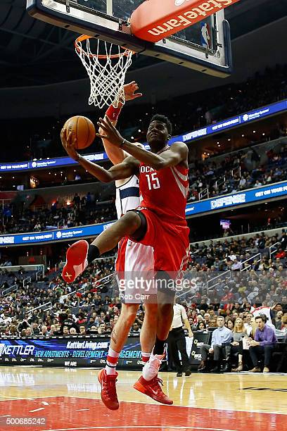 Clint Capela of the Houston Rockets puts up a shot in front of Marcin Gortat of the Washington Wizards in the first half at Verizon Center on...