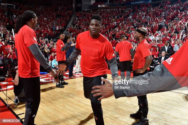 Clint Capela of the Houston Rockets runs out before the Western Conference Quarterfinals game against the Oklahoma City Thunder during the 2017 NBA...