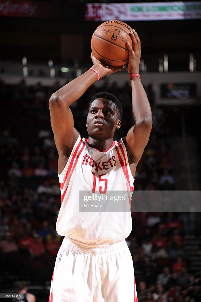 Clint Capela of the Houston Rockets shoots a free throw against the Sacramento Kings on April 1 2015 at the Toyota Center in Houston Texas NOTE TO...