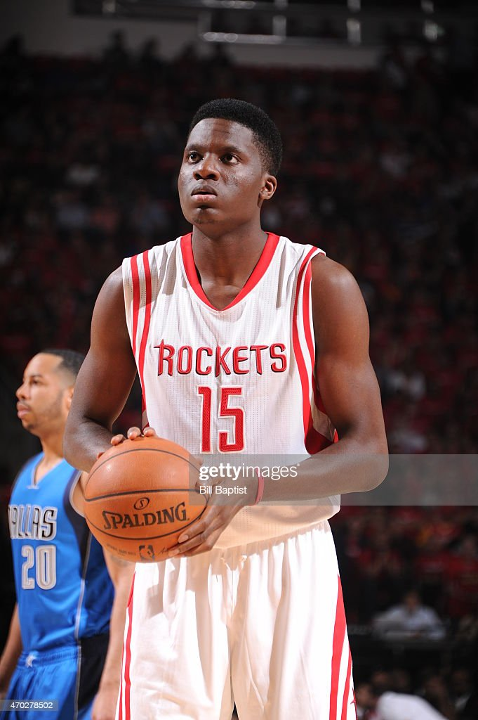 Clint Capela of the Houston Rockets shoots a free throw against the Dallas Mavericks in Game One of the Western Conference Quarterfinals during the...