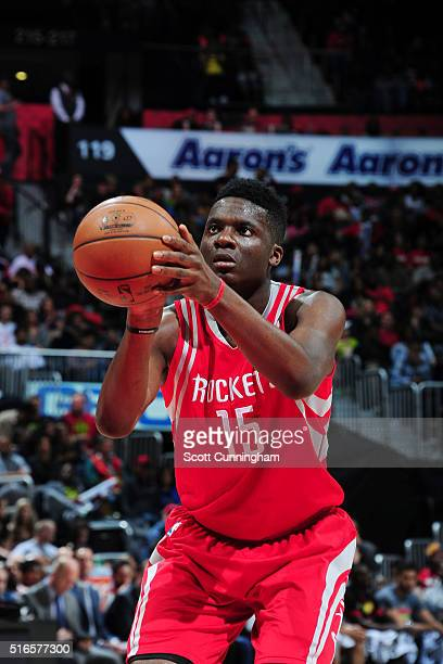Clint Capela of the Houston Rockets shoots a free throw against the Atlanta Hawks on March 19 2016 at Philips Center in Atlanta Georgia NOTE TO USER...