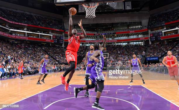Clint Capela of the Houston Rockets shoots a layup against the Sacramento Kings on April 9 2017 at Golden 1 Center in Sacramento California NOTE TO...