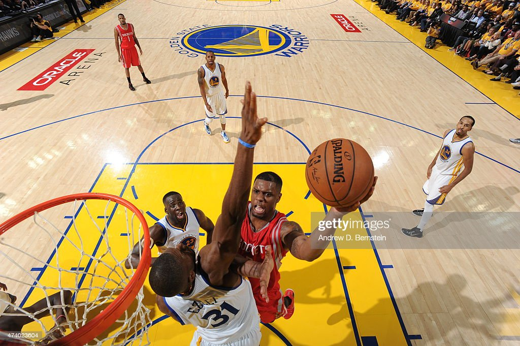 Clint Capela of the Houston Rockets shoots against the Golden State Warriors in Game One of the Western Conference Finals of the 2015 NBA Playoffs on...