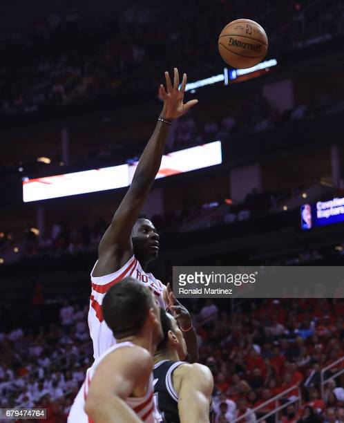 Clint Capela of the Houston Rockets shoots against the San Antonio Spurs during Game Three of the NBA Western Conference SemiFinals at Toyota Center...