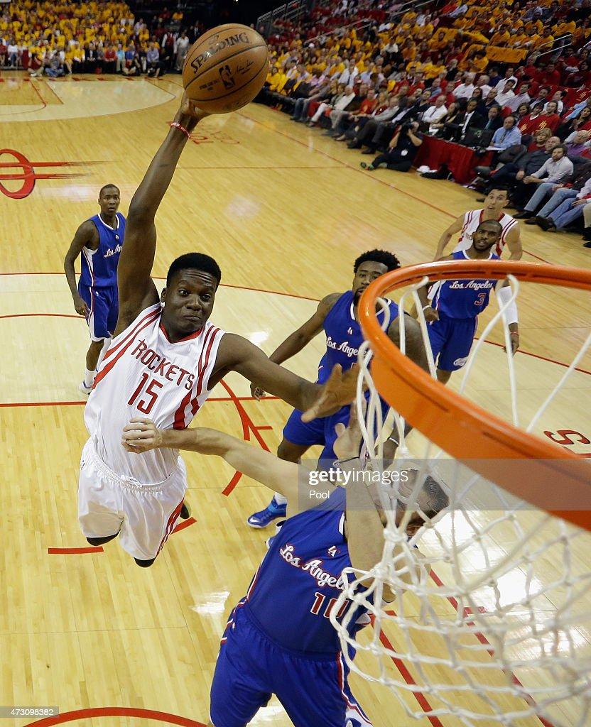 Clint Capela of the Houston Rockets shoots over Spencer Hawes of the Los Angeles Clippers during Game Five of the Western Conference Semifinals at...
