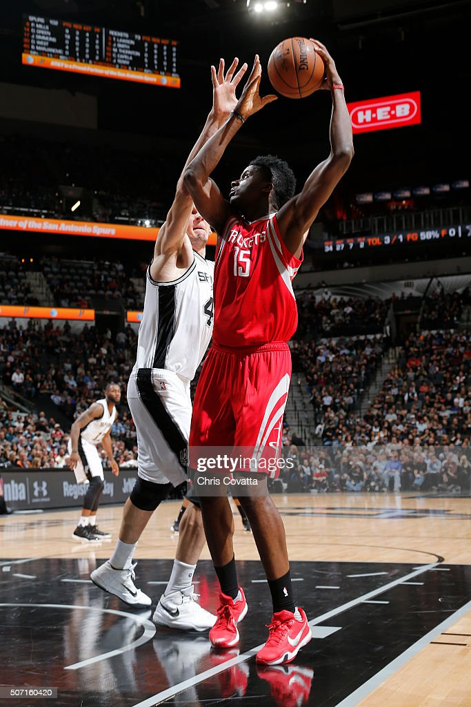 Clint Capela of the Houston Rockets shoots the ball against the San Antonio Spurs on January 27 2016 at the ATT Center in San Antonio Texas NOTE TO...