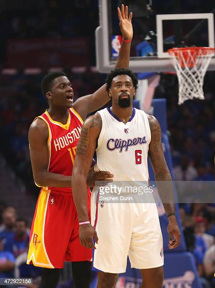 Clint Capela of the Houston Rockets signals as he intentionally fouls DeAndre Jordan 6 of the Los Angeles Clippers during the first quarter of Game...