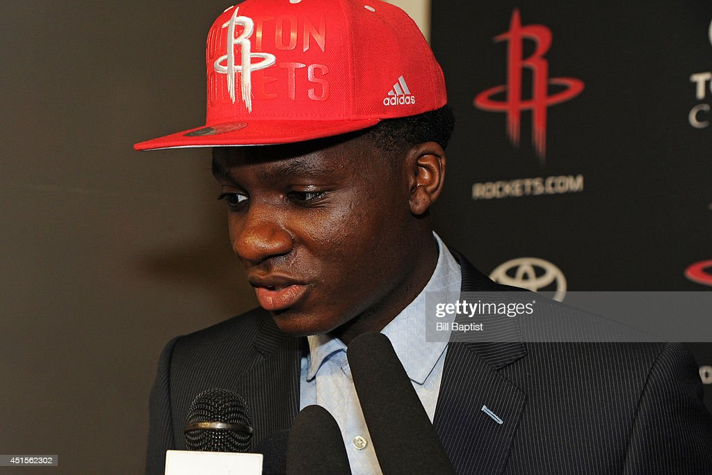 Clint Capela #15 of the Houston Rockets speaks to the media after being drafted in Houston, Texas.
