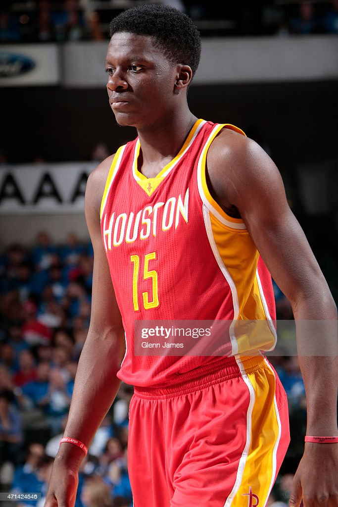 Clint Capela of the Houston Rockets stands on the court against the Dallas Mavericks during Game Three of the Western Conference Quarterfinals of the...