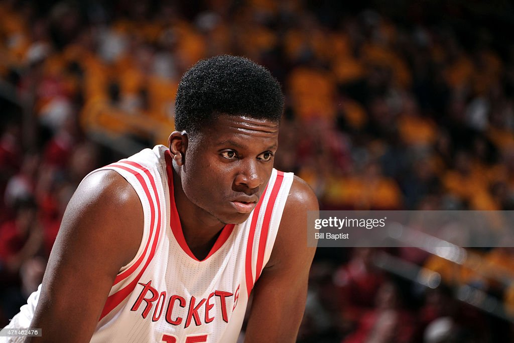 Clint Capela of the Houston Rockets stands on the court during a game against the Dallas Mavericks in Game Five of the Western Conference...