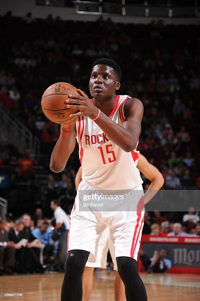 Clint Capela of the Houston Rockets takes a free throw against the Memphis Grizzlies on December 3 2014 at Toyota Center in Houston Texas NOTE TO...