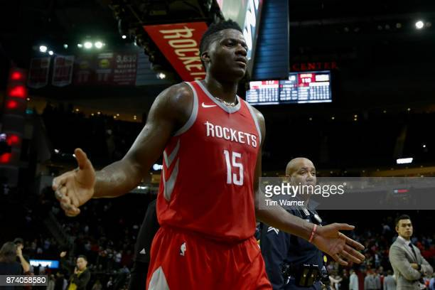 Clint Capela of the Houston Rockets walks off the court after the game against the Cleveland Cavaliers at Toyota Center on November 09 2017 in...