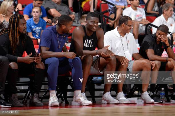 Clint Capela of the Houston Rockets watches from the sidelines in a game against the Denver Nuggets during the 2017 Las Vegas Summer League on July 7...