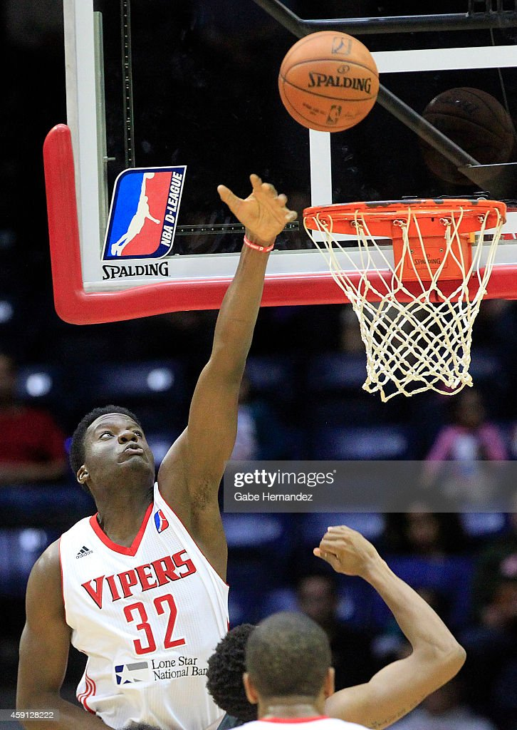 Clint Capela of the Rio Grande Valley Vipers reaches for the rebound against the Austin Spurs on Nov 15 2014 at the State Farm Arena in Hidalgo Texas...